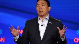 Andrew Yang speaks during the Democratic Presidential Debate at Otterbein University