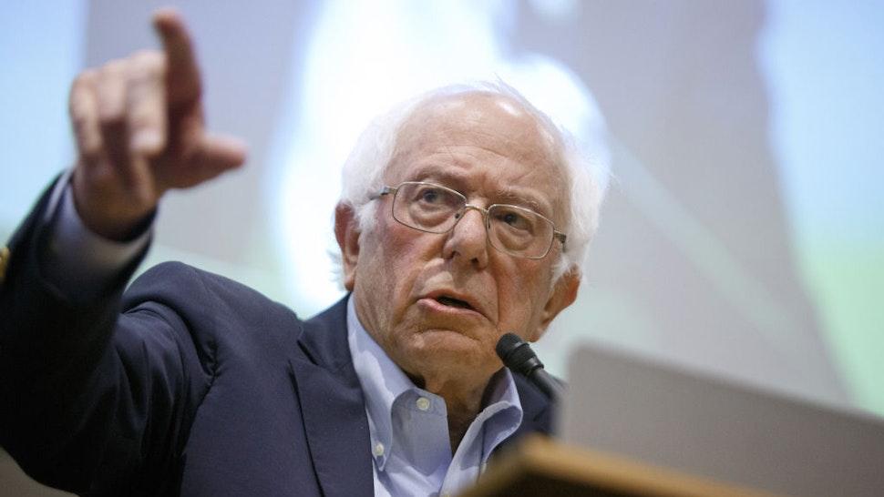 Bernie Sanders speaks during a Chicago Teachers Union Strike Authorization Vote Rally