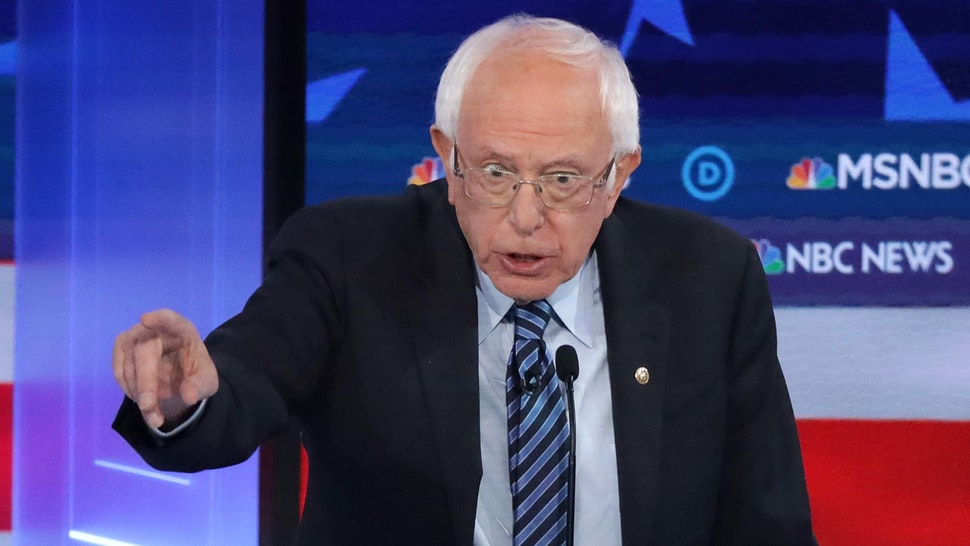 ATLANTA, GEORGIA - NOVEMBER 20: Democratic presidential candidate Sen. Bernie Sanders (I-VT) speaks during the Democratic Presidential Debate at Tyler Perry Studios November 20, 2019 in Atlanta, Georgia. Ten Democratic presidential hopefuls were chosen from the larger field of candidates to participate in the debate hosted by MSNBC and The Washington Post.