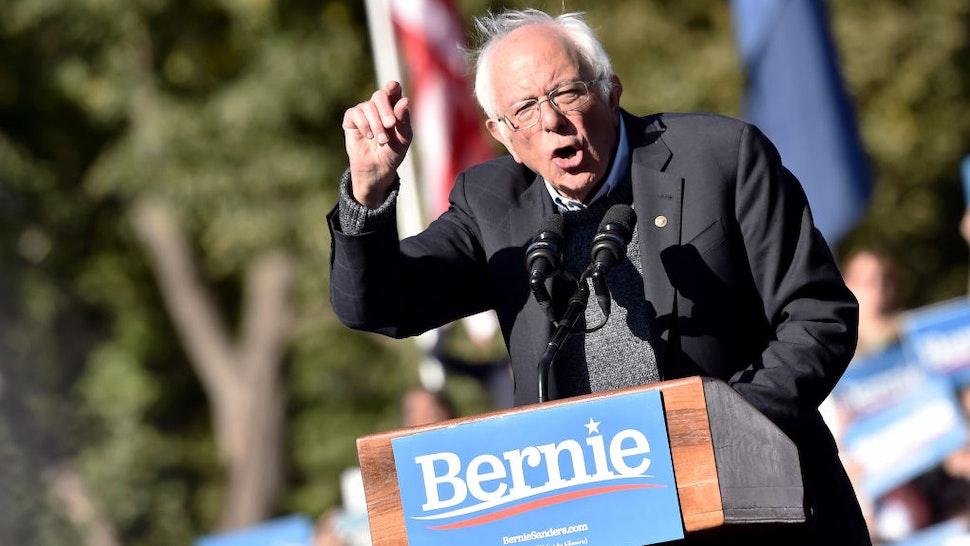 Bernie Sanders speaks during a campaign rally in Queensbridge Park