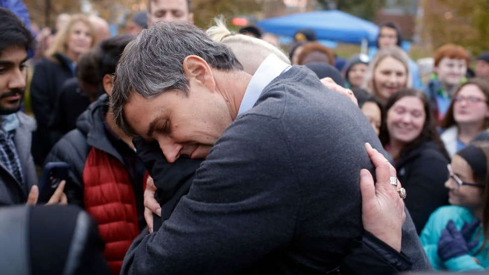 Democratic presidential candidate and former Rep. Beto O'Rourke (D-TX) hugs volunteer Charlie Jordan after announcing he was dropping out of the presidential race before the start of the Iowa Democratic Party Liberty & Justice Celebration on November 1, 2019 in Des Moines, Iowa. Fourteen presidential are expected to speak at the event addressing over 12,000 people. (Photo by Joshua Lott/Getty Images)