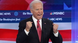 Joe Biden speaks during the Democratic Presidential Debate at Tyler Perry Studios