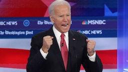 Joe Biden speaks during the Democratic Presidential Debate at Tyler Perry Studios
