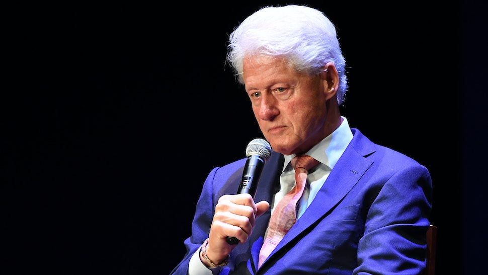 JUNE 13: Former President of the United States Bill Clinton speaks on stage during a discussion of his new book 'The President Is Missing' at Cobb Energy Performing Arts Centre on June 13, 2018 in Atlanta, Georgia.