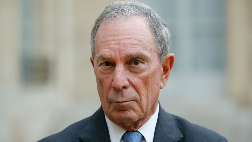 Michael Bloomberg makes a statement after his meeting with French President Francois Hollande
