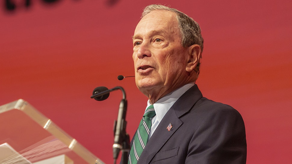 COPENHAGEN, DENMARK OCTOBER 10: Mayor of New York City and President of the C40 Board, Michael Bloomberg, during the C40 World Mayors Summit hand over of the chair on October 10, 2019 in Copenhagen, Denmark. More than 70 mayors of some of the worlds largest and most influential cities representing some 700 million people meet in Copenhagen from October 9-12 for the C40 World Mayors Summit, with the purpose to build a global coalition of leading cities, businesses and citizens that rallies around radical and ambitious climate action.