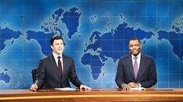 "SATURDAY NIGHT LIVE -- ""Paul Rudd"" Episode 1767 -- Pictured: (l-r) Colin Jost, Michael Che during ""Weekend Update"" on May 18, 2019 --"
