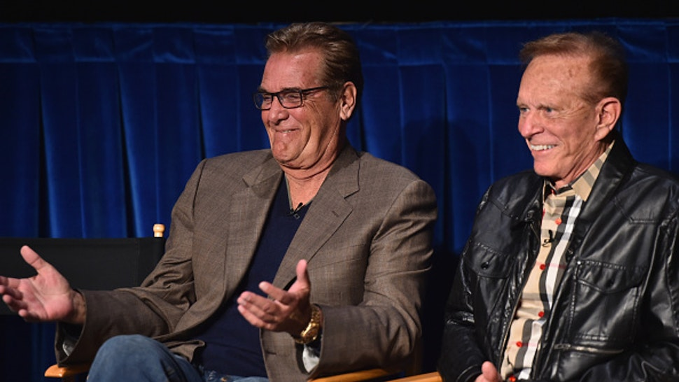 """BEVERLY HILLS, CA - MARCH 19: TV hosts Chuck Woolery and Bob Eubanks attend the WE tv presents """"The Evolution of The Relationship Reality Show"""" at The Paley Center for Media on March 19, 2015 in Beverly Hills, California."""