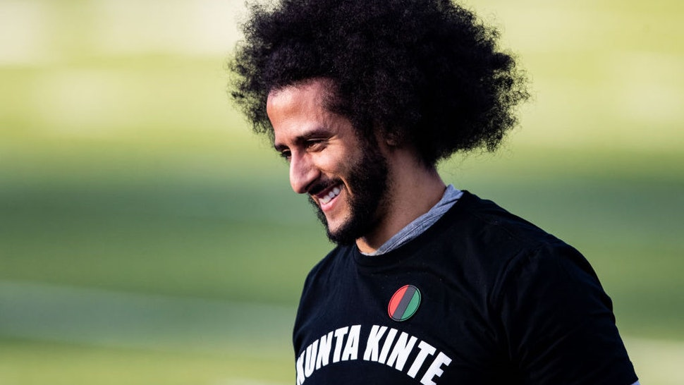Colin Kaepernick looks on during his NFL workout held at Charles R Drew high school on November 16, 2019 in Riverdale, Georgia. (Photo by Carmen Mandato/Getty Images)