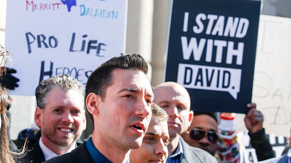 David Daleiden, a defendant in a Planned Parenthood video, speaks to media Thursday Feb. 4, 2016 in Houston outside the Harris County Courthouse. (Photo by Eric Kayne/Getty Images)