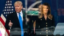 U.S. President Donald Trump and First Lady Melania Trump attend a wreath laying ceremony at the Eternal Light Monument in Madison Square Park during the Veteran's Day parade in New York, U.S., on Monday, Nov. 11, 2019. On Monday, U.S.stocks fellamid concern that the U.S. and China are struggling to get an initial trade deal done, with the S&P 500 slipping as much as 0.6%. Photographer: Jeenah Moon/Bloomberg