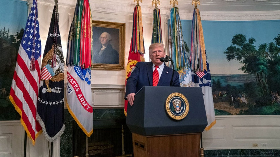 U.S. President Donald Trump makes a statement in the Diplomatic Reception Room of the White House October 27, 2019 in Washington, DC. President Trump announced that ISIS leader Abu Bakr al-Baghdadi has been killed in a military operation in northwest Syria. (Photo by Tasos Katopodis/Getty Images)