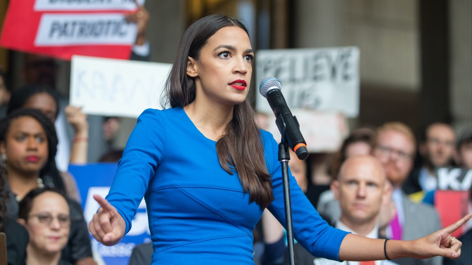 New York Democratic congressional candidate Alexandria Ocasio-Cortez speaks at a rally calling on Sen. Jeff Flake (R-AZ) to reject Judge Brett Kavanaugh's nomination to the Supreme Court on October 1, 2018 in Boston, Massachusetts.