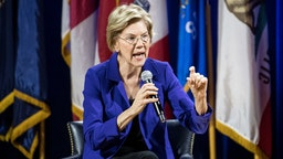 ORANGEBURG, SC - NOVEMBER 08: Democratic presidential candidate, Sen. Elizabeth Warren (D-MA) addresses the audience at the Environmental Justice Presidential Candidate Forum at South Carolina State University on November 8, 2019 in Orangeburg, South Carolina. Warren participated in the forum with fellow candidates Sen. Cory Booker, Tom Steyer, John Delaney, Marianne Williamson, and Joe Sestak.