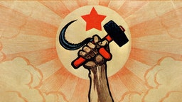 Symbols of communism: the hand wielding the hammer and sickle, in the background the rising sun and the red star ***Long live the fifth anniversary of the Great Proletarian Revolution!***. Color lithograph. Digital optimization from detail of a Ivan Simakov 1922 poster. Italy, Milan 2016.