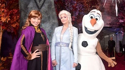 "(L-R) Anna, Elsa, and Olaf attend the world premiere of Disney's ""Frozen 2"" at Hollywood's Dolby Theatre on Thursday, November 7, 2019 in Hollywood, California. (Photo by Alberto E. Rodriguez/Getty Images for Disney)"