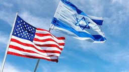 United States and Israel flags near the American Embassy in Jerusalem, Israel