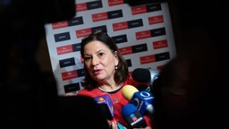 Martha Barcena Coqui, Mexico's incoming ambassador to the U.S., speaks to members of the media following an economic summit in Mexico City, Mexico, on Thursday, Sept. 6, 2018.