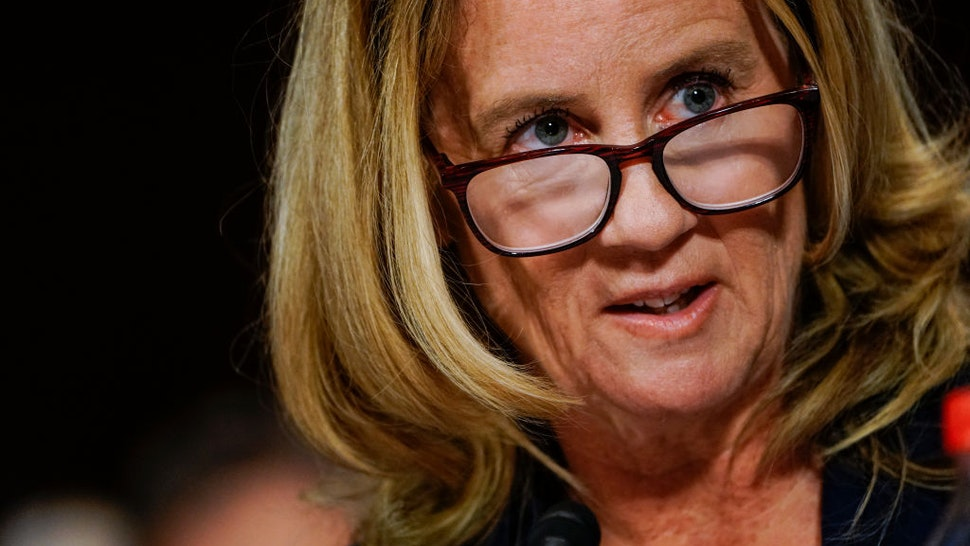 Dr. Christine Blasey Ford answers questions at a Senate Judiciary Committee hearing in the Dirksen Senate Office Building on Capitol Hill September 27, 2018 in Washington, DC.