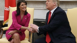 WASHINGTON, DC - OCTOBER 09: U.S. President Donald Trump announces that he has accepted the resignation of Nikki Haley as US Ambassador to the United Nations, in the Oval Office on October 9, 2018 in Washington, DC. President Trump said that Haley will leave her post by the end of the year. (Photo by Mark Wilson/Getty Images)