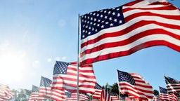 United States flags blow in the wind in Malibu, CA - stock photo