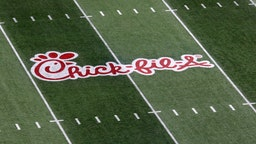ATLANTA, GA - DECEMBER 29: The Chick-fil-A logo is painted on the field for the Peach Bowl between the Florida Gators and the Michigan Wolverines on December 29, 2018 at Mercedes-Benz Stadium in Atlanta, Georgia.