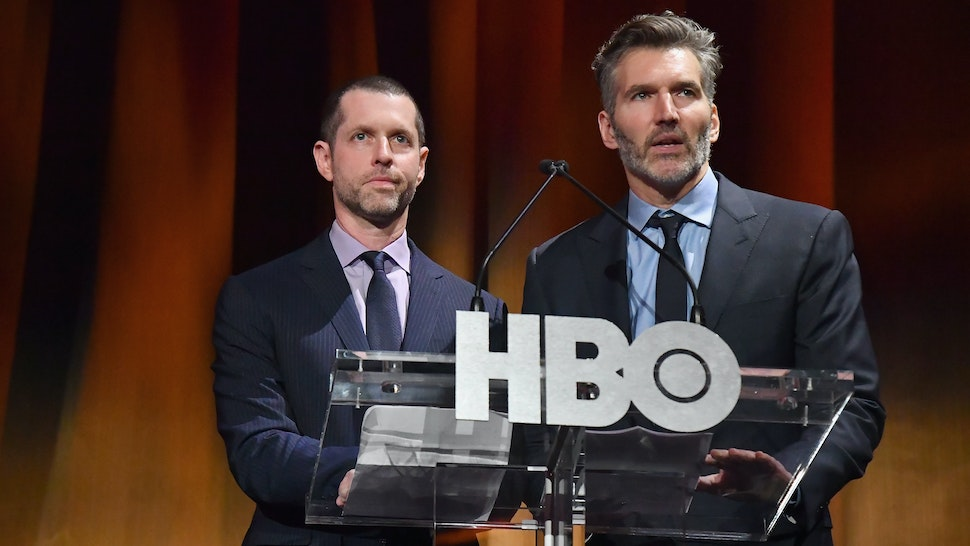 """NEW YORK, NY - APRIL 03: Executive Creators and Producers of """"Game of Thrones"""", D.B Weiss and David Benioff speak onstage during the """"Game Of Thrones"""" Season 8 NY Premiere on April 3, 2019 in New York City. (Photo by Jeff Kravitz/FilmMagic for HBO)"""