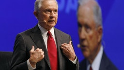 eff Sessions, U.S. attorney general, speaks during the Skybridge Alternatives (SALT) conference in Las Vegas, Nevada, U.S., on Wednesday, May 8, 2019.