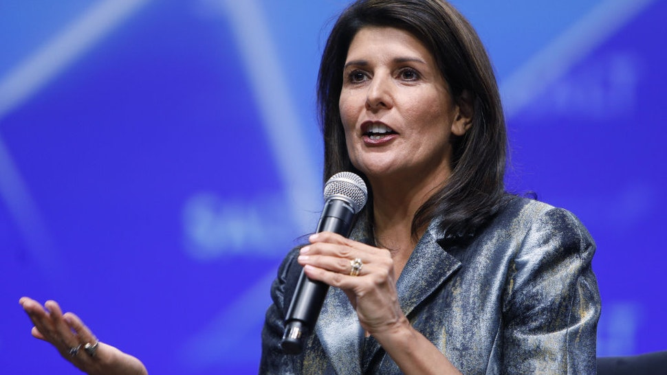 Nikki Haley, former U.S. ambassador to the United Nations (UN), speaks during the Skybridge Alternatives (SALT) conference in Las Vegas, Nevada, U.S., on Thursday, May 9, 2019.