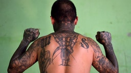 An ex member of the MS-13 gang is pictured at Santa Ana prison, 60 km northwest of San Salvador, on May 21, 2019.