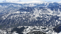 STEAMBOAT SPRINGS CO - JUNE 7: Heavy snow still remains on the Flat Tops on June 7, 2019 near Steamboat Springs, Colorado. Flight for aerial photos was provided by Eco Flight.