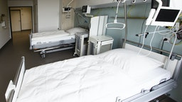 16 August 2019, Schleswig-Holstein, Kiel: Two beds are available in a ward room for patients with statutory health insurance at the University Hospital Schleswig-Holstein (UKSH). After seven years of planning and four years of construction, the more than 300 million UKSH new building of the central building was officially opened on 16 August. Photo: Frank Molter/dpa (Photo by Frank Molter/picture alliance via Getty Images)