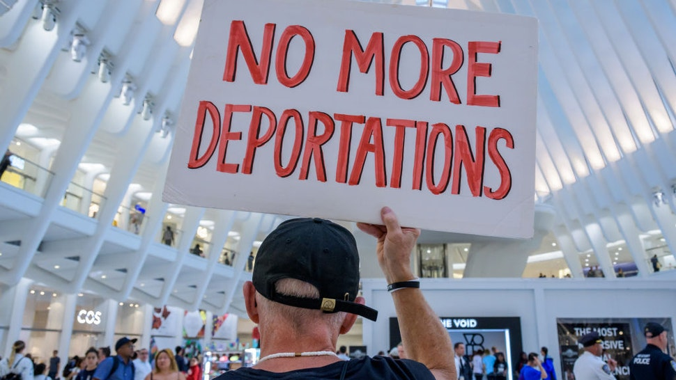 2019/09/12: Members of the activist group Rise And Resist gathered at a silent protest inside The Oculus on September 12, 2019 holding NO RAIDS/CLOSE THE CAMPS/ABOLISH ICE banners, photographs of the children who have died in ICE custody, and photographs of the detention camps to object to Border Patrol and ICE treatment of immigrants, refugees, and asylum seekers.