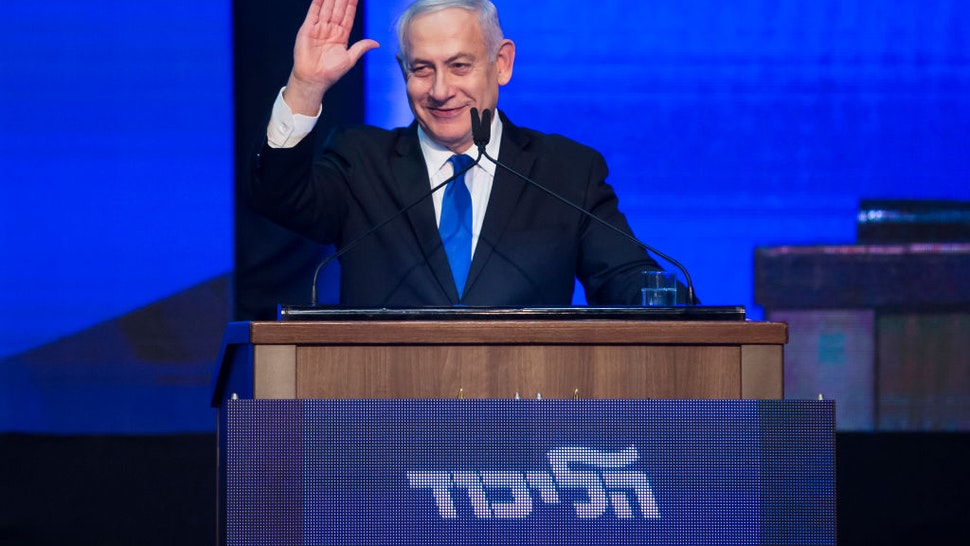 TEL AVIV, ISRAEL - SEPTEMBER 18: Israeli Prime Minister Benjamin Netanyahu speaks at the Likud Party after vote event on September 18, 2019 in Tel Aviv, Israel. All TV exit polls see no clear winner in Isreal's elections.