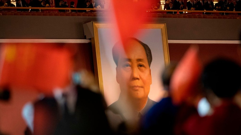The portrait of former Chinese Communist Party leader Mao Zedong is pictured at a gala in Tiananmen Square in Beijing on October 1, 2019, to mark the 70th anniversary of the founding of the Peoples Republic of China.