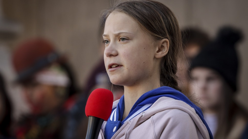 wedish teen activist Greta Thunberg speaks at the Fridays For Future Denver Climate Strike on October 11, 2019 at Civic Center Park in Denver, Colorado. Thousands of protesters attended the event which was sparked by Thunberg's #FridaysForFuture movement. (Photo by Marc Piscotty/Getty Images)
