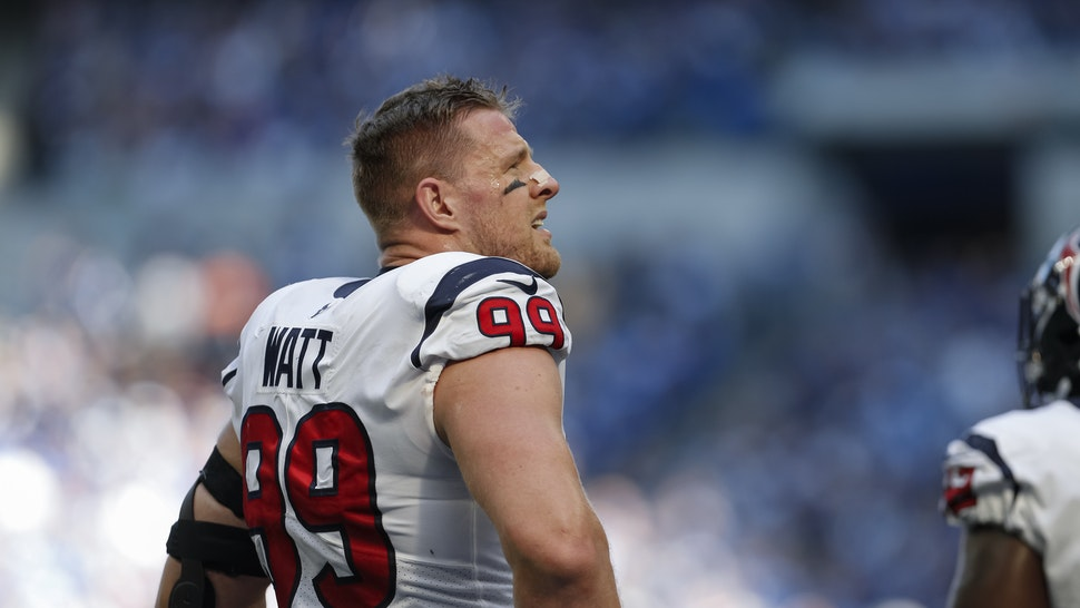 INDIANAPOLIS, IN - OCTOBER 20: J.J. Watt #99 of the Houston Texans is seen during the game against the Indianapolis Colts at Lucas Oil Stadium on October 20, 2019 in Indianapolis, Indiana. (Photo by Michael Hickey/Getty Images)INDIANAPOLIS, IN - OCTOBER 20: J.J. Watt #99 of the Houston Texans is seen during the game against the Indianapolis Colts at Lucas Oil Stadium on October 20, 2019 in Indianapolis, Indiana. (Photo by Michael Hickey/Getty Images)