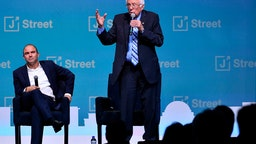Democratic presidential candidate Senator Bernie Sanders (C) speaks during the 2019 J Street National Conference at the Walter E. Washington Convention Center in Washington, DC on October 28, 2019.