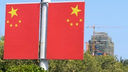 A view of China National Flags seen in Qinzhou city center. On Friday, October 18, 2019, in Qinzhou, Guangxi Region, China.