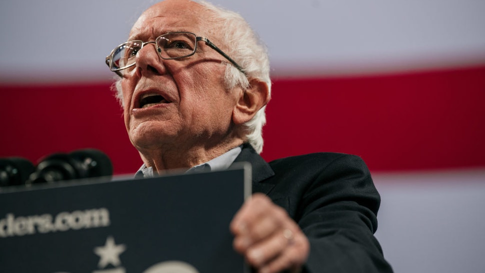MINNEAPOLIS, MN - NOVEMBER 03: Democratic presidential candidate Sen. Bernie Sanders (I-VT) speaks at a campaign rally at the University of Minnesotas Williams Arena on November, 3, 2019 in Minneapolis, Minnesota. Over 10,000 people attended the rally, where Sanders was joined by Democratic Representative Ilhan Omar.