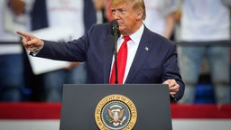 LEXINGTON, KY - NOVEMBER 04: U.S. President Donald Trump speaks during a campaign rally at the Rupp Arena on November 4, 2019 in Lexington, Kentucky. The president was visiting Kentucky the day before Election Day in support of Republican Gov. Matt Bevin.