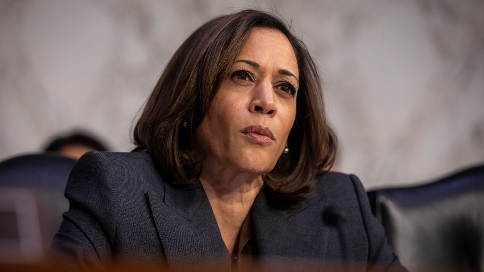Senator Kamala Harris, a Democrat from California, listens during a Senate Homeland Security Committee hearing in Washington, D.C., U.S., on Tuesday, Nov. 5, 2019.