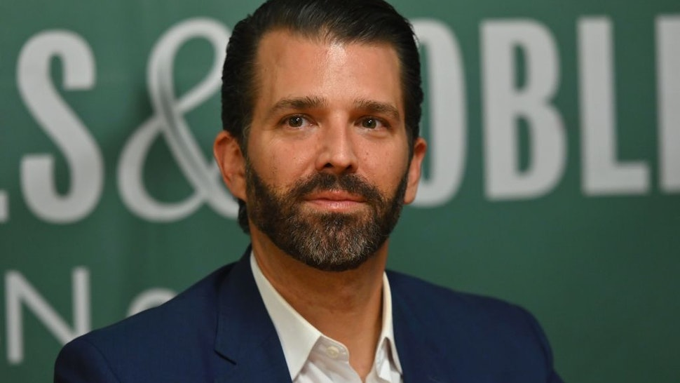 "Donald Trump Jr., poses during a signing event for his new Book ""Triggered: How the Left Thrives on Hate and Wants to Silence Us"" at Barnes & Noble on 5th Avenue on November 5, 2019 in New York."