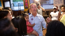 Virginia state senate candidate Joe Morrissey talks to supporters after winning the primary vote at Plaza Mexico Mexican Restaurant in Petersburg, VA on June 11, 2019.