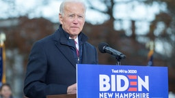 Democratic presidential candidate, former vice President Joe Biden speaks during a rally after he signed his official paperwork for the New Hampshire Primary at the New Hampshire State House on November 8, 2019 in Concord, New Hampshire.