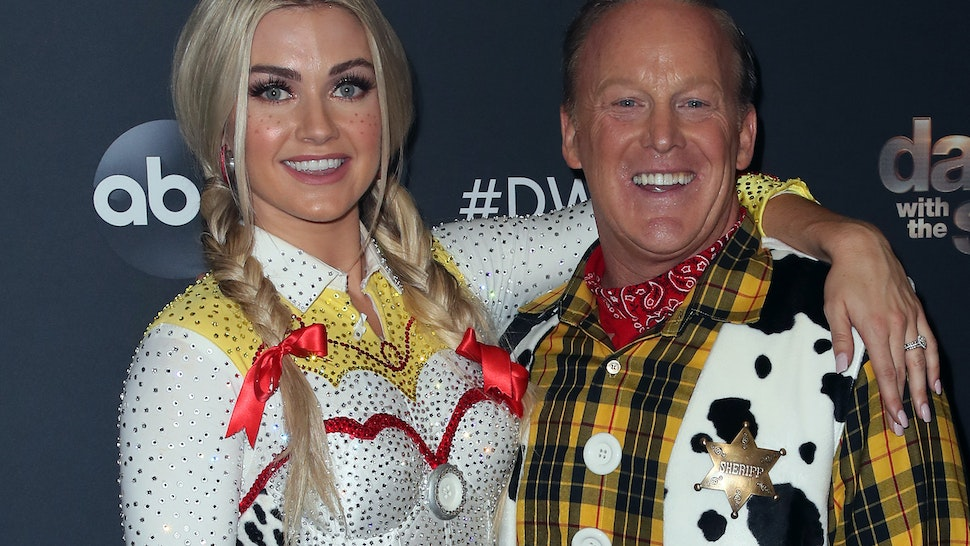 "LOS ANGELES, CALIFORNIA - OCTOBER 14: Lindsay Arnold and Sean Spicer pose at ""Dancing with the Stars"" Season 28 at CBS Television City on October 14, 2019 in Los Angeles, California. (Photo by David Livingston/Getty Images)"
