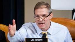 Republican Representative from Ohio Jim Jordan questions Charge d'Affaires at the US embassy in Ukraine Bill Taylor during the House Permanent Select Committee on Intelligence hearing on the impeachment inquiry into US President Donald J. Trump, on Capitol Hill November 13, 2019 in Washington, DC.