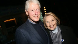 """NEW YORK,NEW YORK - OCTOBER 22: (EXCLUSIVE COVERAGE) 42nd President of the United States Bill Clinton and 67th United States secretary of state Hillary Rodham Clinton pose at the opening night of the new Manhattan Theatre Club play """"Bella Bella"""" at MTC Stage 1 Theatre at City Center on October 22, 2019 in New York City. (Photo by Bruce Glikas/Getty Images)"""