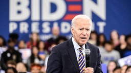 Democratic presidential candidate, former vice President Joe Biden speaks to the audience during a town hall on November 21, 2019 in Greenwood, South Carolina.