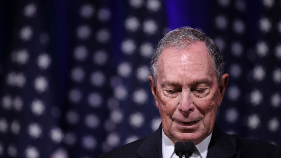 Newly announced Democratic presidential candidate, former New York Mayor Michael Bloomberg speaks during a press conference to discuss his presidential run on November 25, 2019 in Norfolk, Virginia. The 77-year old Bloomberg joins an already crowded Democratic field and is presenting himself as a moderate and pragmatic option in contrast to the current Democratic Party's increasingly leftward tilt. In recent years, Bloomberg has used some of his vast personal fortune to push for stronger gun safety laws and action on climate change.